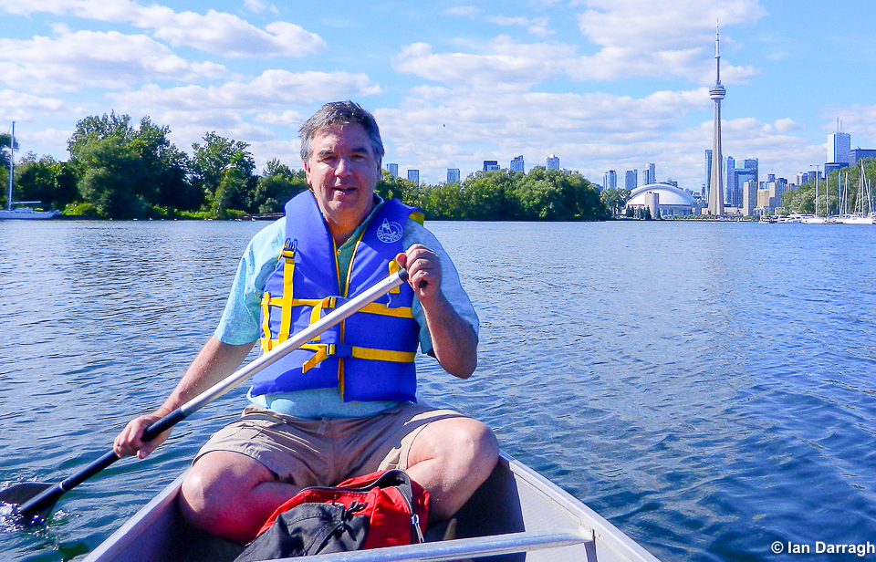 Ian Darragh canoeing Toronto Islands