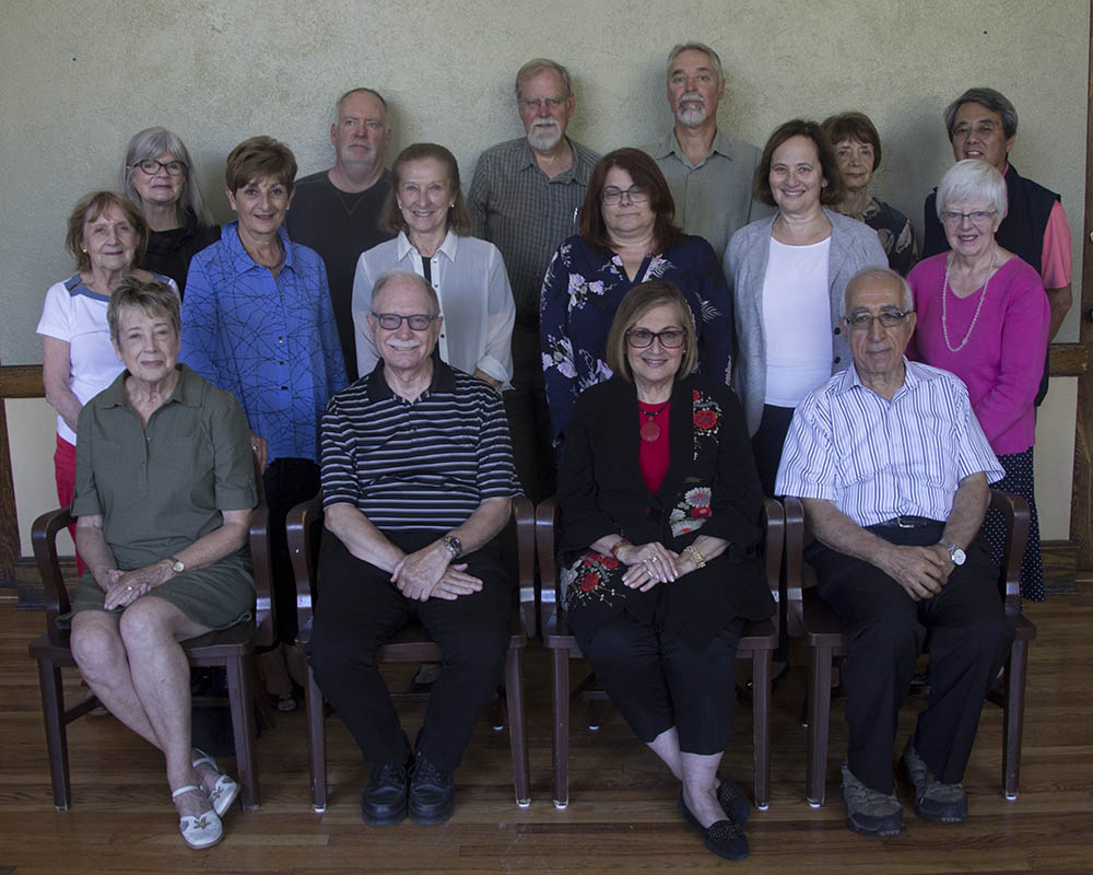 The Academy's 2018/19 Board:  Front Row left to right: Virginia Clark, Doug Wilson, Sharon Harris, Mohammed Bakir  Middle Row left to right: Jenny Lorentowicz, Deborah Del Duca, Clare Mian, Cathy Spark, Thea Herman, Gillian Long  Back Row left to right: Trudi Armstrong, Brian Gaston, John Weatherburn, Randal Holloway, Huguette Blanco, Philip Wong  Absent: Susan Murphy
