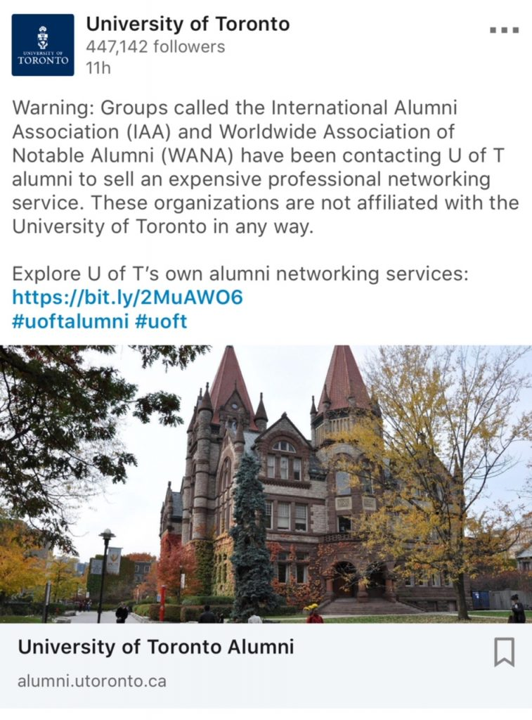 Important to Note if You Are A U of T alum