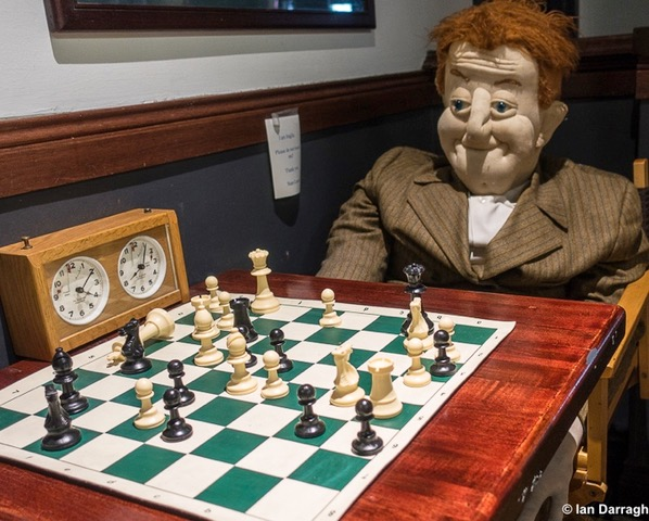 Stan Laurel playing chess at The Granite Brewery